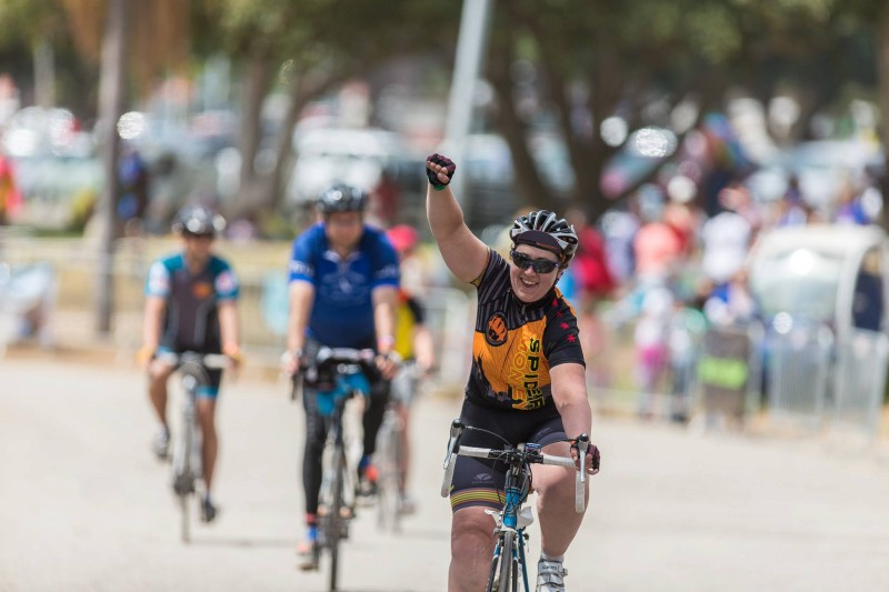 At the finish line in LA (after 545 miles, with a smile on my face)