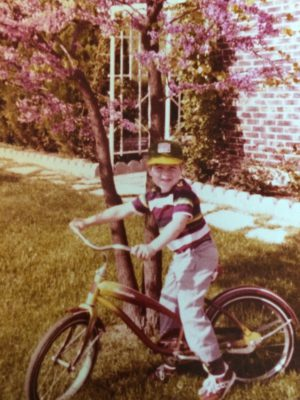 Zach (again) as a child cyclist